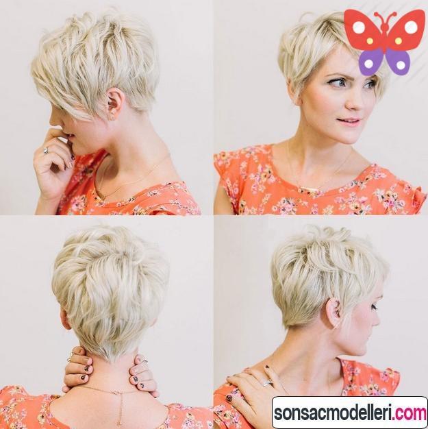katlı sarı pixie saç kesimi